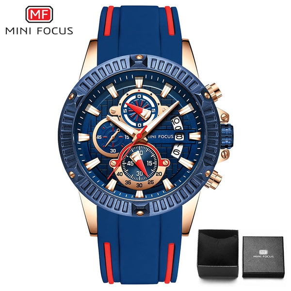 blue red - MINIFOCUS Fashion Men's Wristwatch Quartz Watch Men Waterproof Silicone Sport Wrist Watches Men Luxury Brand Relogio Masculino