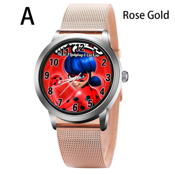 A-GOLD - New arrive Miraculous Ladybug Watches Children Kids gift Watch Casual Quartz Wristwatch fashion leather watch Relogio Relojes