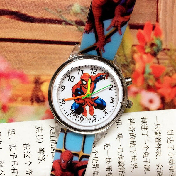 spiderman-Sky blue - 2019 Spiderman Children Watches Cartoon Electronic Colorful Light Source Child Watch Boys Birthday Party Kids Gift Clock Wrist