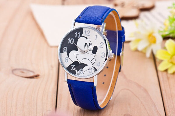 Deep blue - New Women Watch Mickey Mouse Pattern Fashion Quartz Watches Casual Cartoon Leather Clock Girls Kids Wristwatch Relogio Feminino