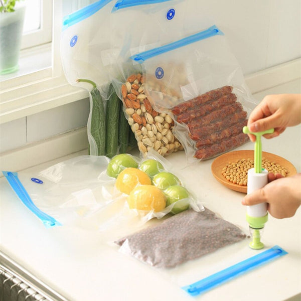 [variant_title] - Vacuum Sealer Vacuum bags For Food Storage With Pump Reusable Food Packages Kitchen Organizer(Containing 5pcs bags) Vacuum pump