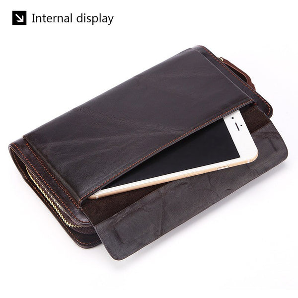 [variant_title] - Business Genuine Leather Clutch Wallet Men Long Leather Phone Bag Purse Male  Large Size Handy Coin Wallet Card Holder Money Bag