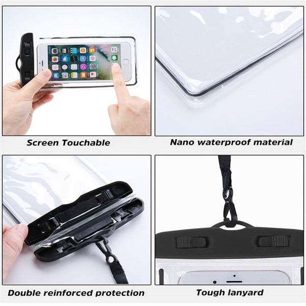 Waterproof Bag Mobile Phone Case for iPhone X 8 Underwater Luminous Phone Pouch Cover for Samsung S9 Clear PVC Sealed Swim Case