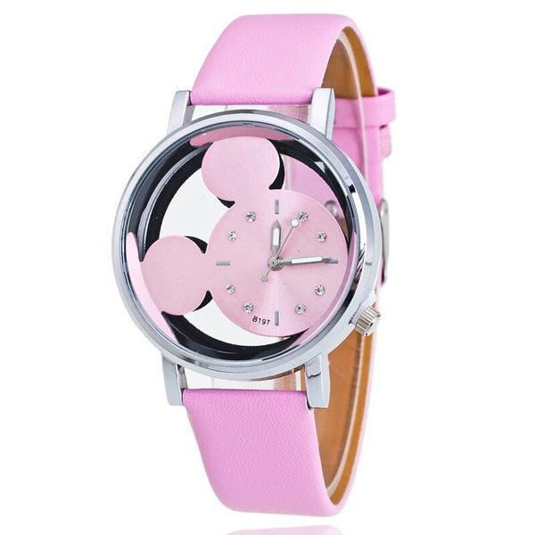 Pink - Brand Leather Quartz Watch Women Children Girl Boy Kids Fashion Bracelet Wrist Watch Wristwatches Clock Relogio Feminino Cartoon