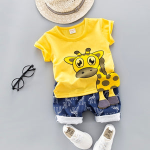 [variant_title] - Baby Clothing Set for Boys Girls 2019 Cute Summer Casual Clothes Set Giraffe Top Blue Shorts Suits Kids Clothes 1-4 Years