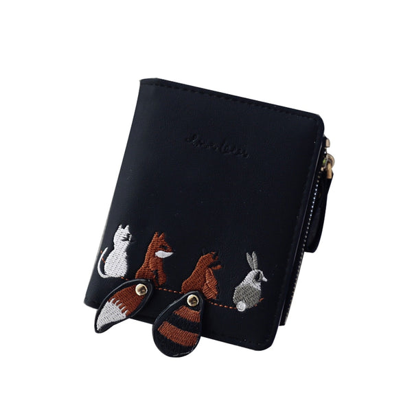 Black - High quality Women's Wallet Lovely Cartoon Animals Short Leather Female Small Coin Purse Hasp Zipper Purse Card Holder For Girls