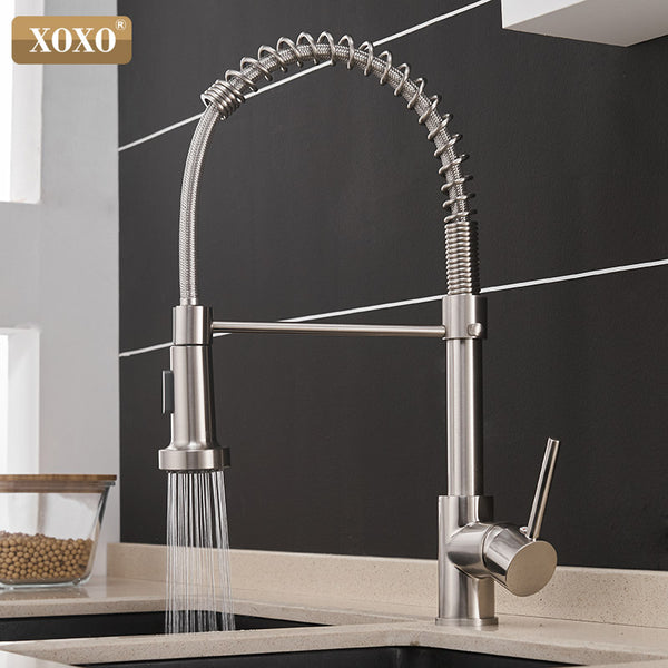 [variant_title] - XOXO Kitchen Faucet Pull Out Cold and Hot Brushed Nickel Torneira  Rotate Swivel 2-Function Water Outlet Mixer Tap 1343A-S