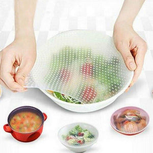 Default Title - 4pcs Multifunctional Food Grade Silicone Food Wrap Reusable Fresh Keeping Saran Wrap Kitchen Cooking Tools Wraps Seal Cover Set