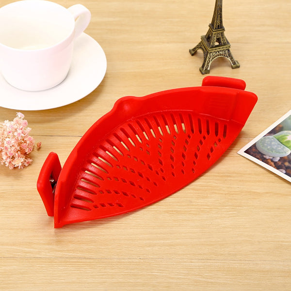 Red / 1-tier - Silicone Colanders Kitchen Clip On Pot Strainer Drainer For Draining Liquid Univers Draining Pasta Vegetable Tool DropShipping