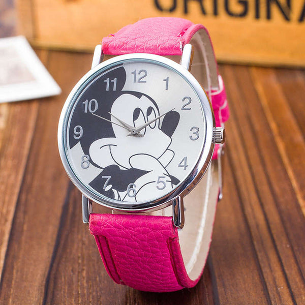 Rose red - New Women Watch Mickey Mouse Pattern Fashion Quartz Watches Casual Cartoon Leather Clock Girls Kids Wristwatch Relogio Feminino