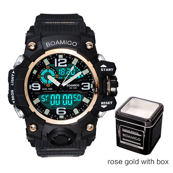 rose gold with box - Men Sports Watches BOAMIGO Brand Digital LED Orange Shock Swim Quartz Rubber Wristwatches Waterproof Clock Relogio Masculino