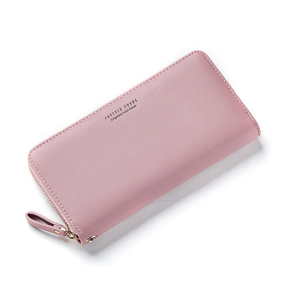 Pink - WEICHEN Wristband Women Long Clutch Wallet Large Capacity Wallets Female Purse Lady Purses Phone Pocket Card Holder Carteras
