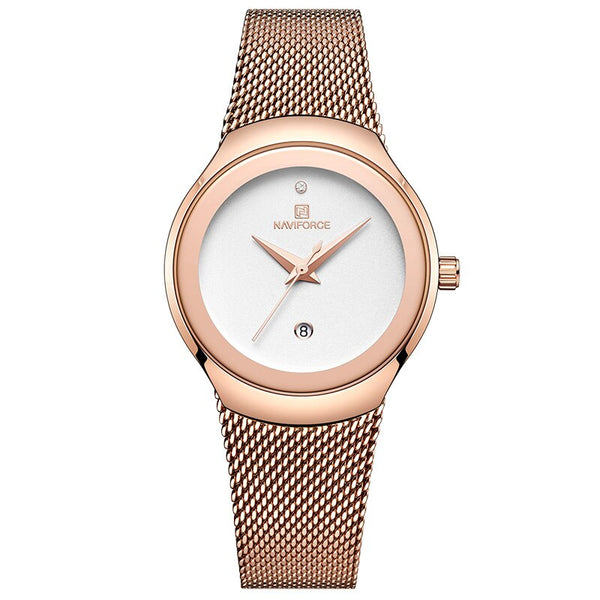 Rose Gold White - NAVIFORCE Watch Women Fashion Dress Quartz Watches Lady Stainless Steel Waterproof Wristwatch Simple Girl Clock Relogio Feminino