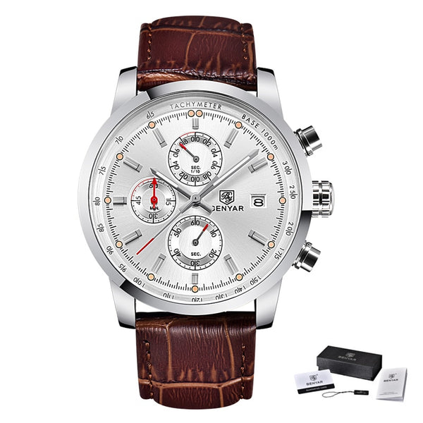 L Deep Brown White - BENYAR Fashion Chronograph Sport Mens Watches Top Brand Luxury Quartz Watch Reloj Hombre saat Clock Male hour relogio Masculino