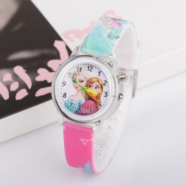 [variant_title] - Princess Elsa Children Watches Electronic Colorful Light Source Child Watch Girls Birthday Party Kids Gift Clock Childrens Wrist