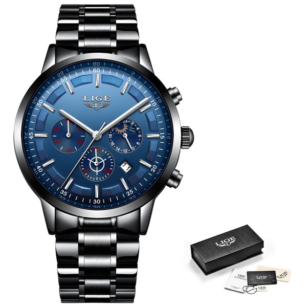 Black blue - Relojes 2018 Watch Men LIGE Fashion Sport Quartz Clock Mens Watches Top Brand Luxury Business Waterproof Watch Relogio Masculino