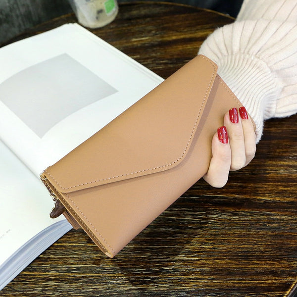 Apricot - Long Wallet Women Purses Tassel Fashion Coin Purse Card Holder Wallets Female High Quality Clutch Money Bag PU Leather Wallet
