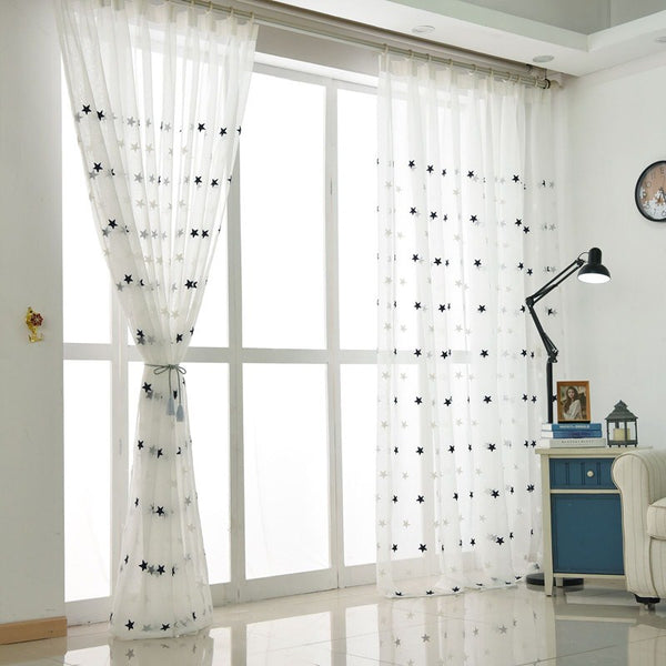 [variant_title] - Modern Star Embroidered White Sheer Curtains for Living Room Bedroom Kitchen Tulle Curtains Kids Baby Room Door Window Curtains