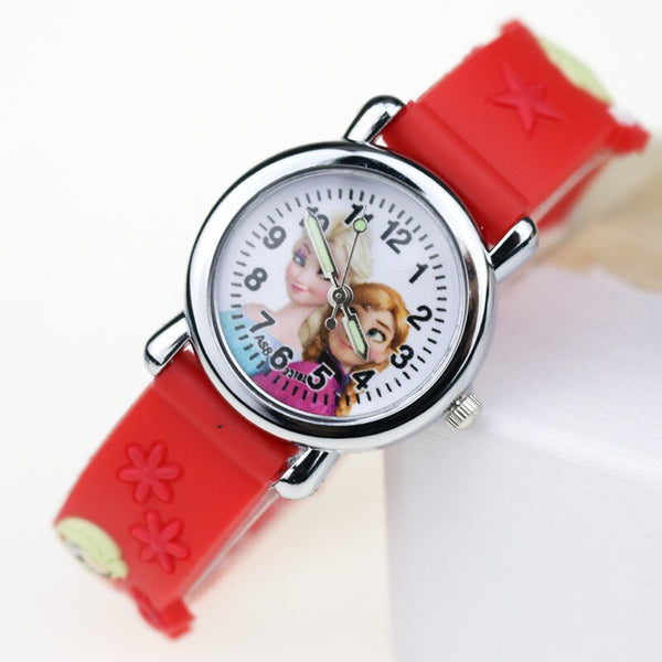 Princess Red - Princess Elsa Children Watches Spiderman Colorful Light Source Boys Watch Girls Kids Party Gift Clock Wrist Relogio Feminino