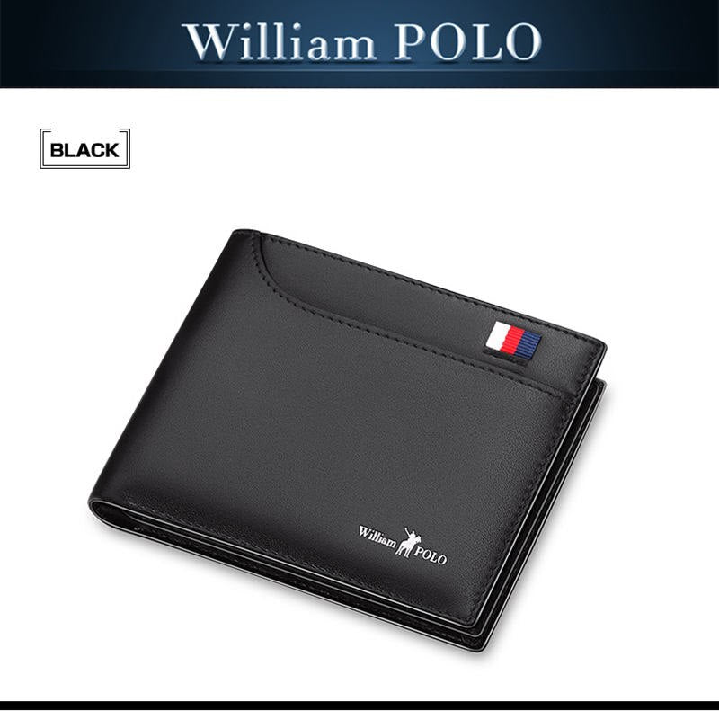 black - 2019 Men's Slim Wallet Genuine Leather Mini Purse Casual Design Bifold Wallet Fashion Brand Short Small Pouch Gift PL181342