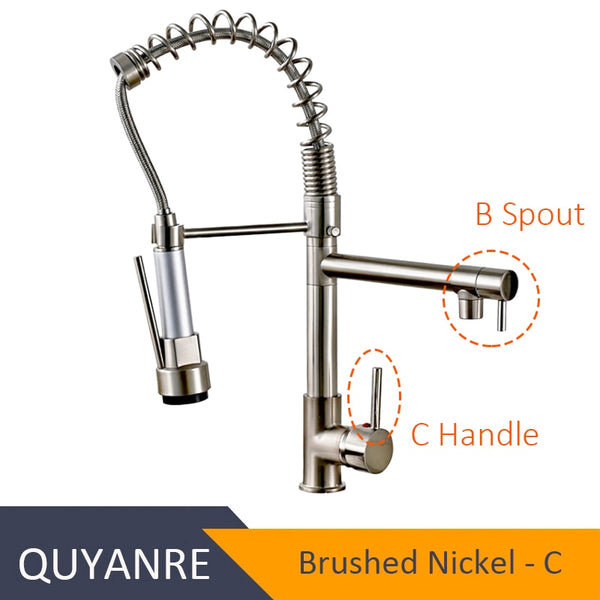 NICKEL GUANGBAZI - Blackend Spring Kitchen Faucet Pull out Side Sprayer Dual Spout Single Handle Mixer Tap Sink Faucet 360 Rotation Kitchen Faucets
