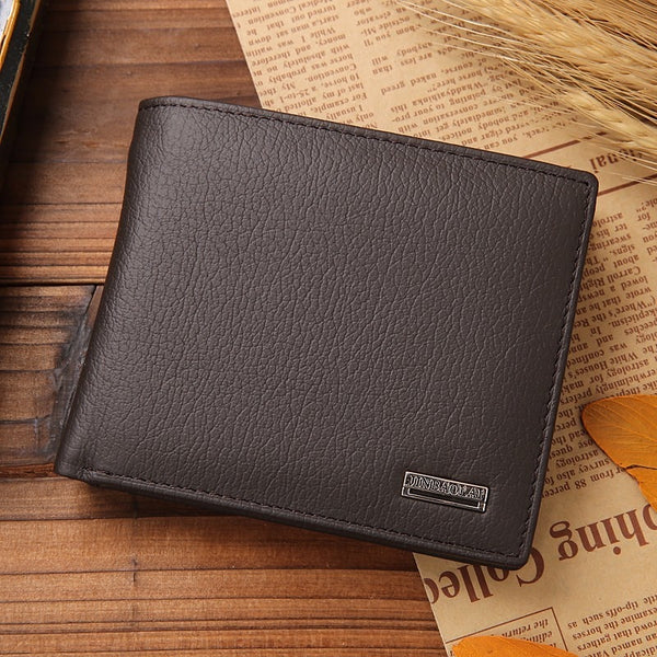 coffee - Luxury 100% Genuine Leather Wallet Fashion Short Bifold Men Wallet Casual Soild Men Wallets With Coin Pocket Purses Male Wallets