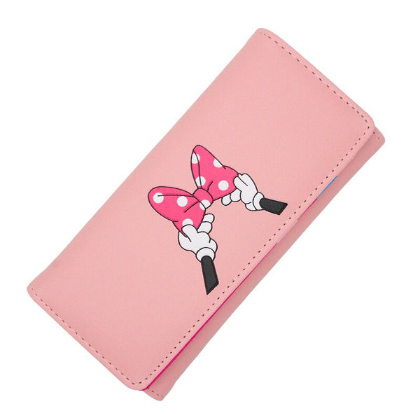 [variant_title] - BOTUSI Mickey Bow Lady Purses Handbags Brand Design Women Wallets PU Leather Money Coin Purse Cards ID Holder Cartoon Printing