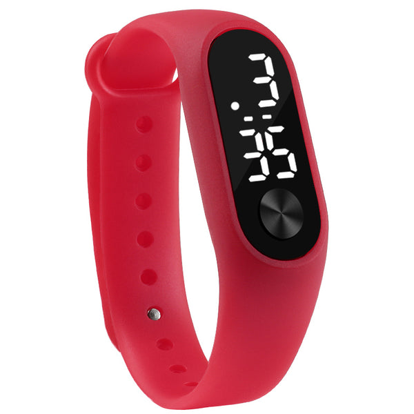 red - Fashion Men Women Casual Sports Bracelet Watches White LED Electronic Digital Candy Color Silicone Wrist Watch for Children Kids