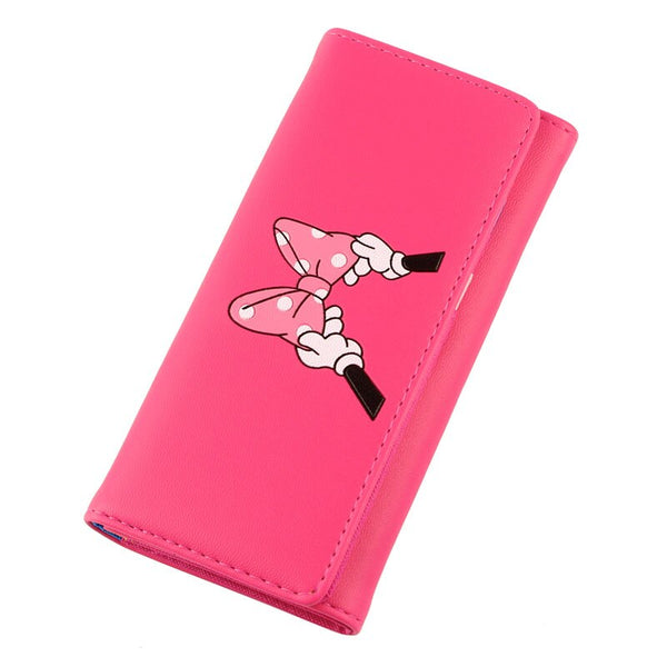 rosered - BOTUSI Mickey Bow Lady Purses Handbags Brand Design Women Wallets PU Leather Money Coin Purse Cards ID Holder Cartoon Printing