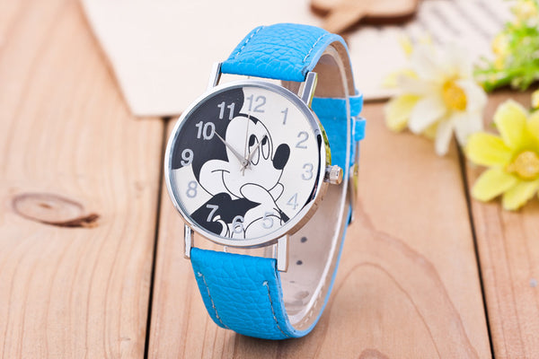 Light blue - New Women Watch Mickey Mouse Pattern Fashion Quartz Watches Casual Cartoon Leather Clock Girls Kids Wristwatch Relogio Feminino