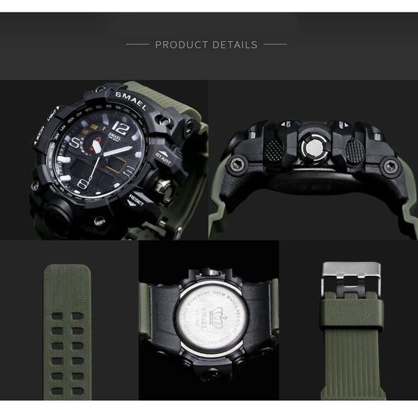 [variant_title] - SMAEL Brand Men Sports Watches Dual Display Analog Digital LED Electronic Quartz Wristwatches Waterproof Swimming Military Watch
