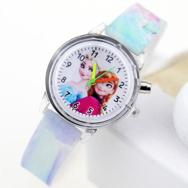 Girl Blue Flash - Princess Elsa Children Watches Spiderman Colorful Light Source Boys Watch Girls Kids Party Gift Clock Wrist Relogio Feminino