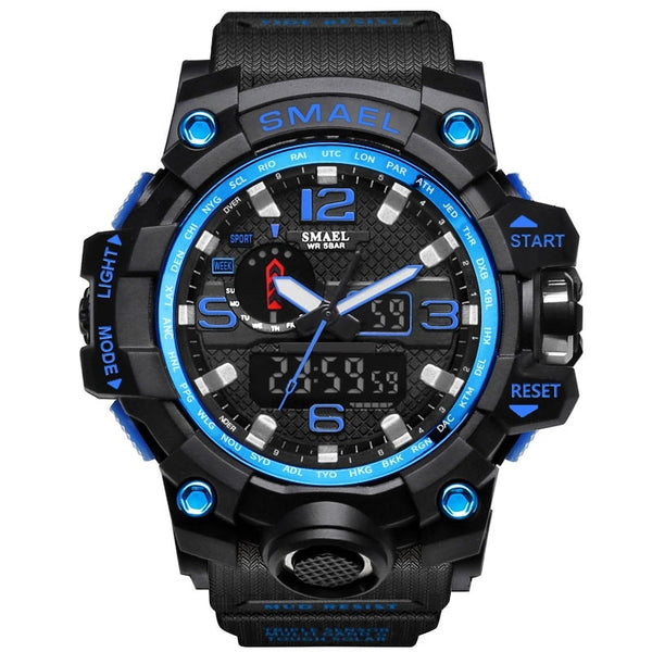 1545 Black Blue - SMAEL Brand Men Sports Watches Dual Display Analog Digital LED Electronic Quartz Wristwatches Waterproof Swimming Military Watch