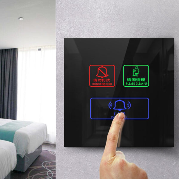 [variant_title] - KEKA Hotel Switch smart wall touch switch 3 Gang Do not disturb,Clean up,doorbell switch  Crystal Glass Panel AC220-250V