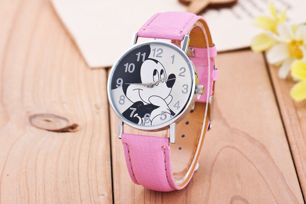 powder - New Women Watch Mickey Mouse Pattern Fashion Quartz Watches Casual Cartoon Leather Clock Girls Kids Wristwatch Relogio Feminino
