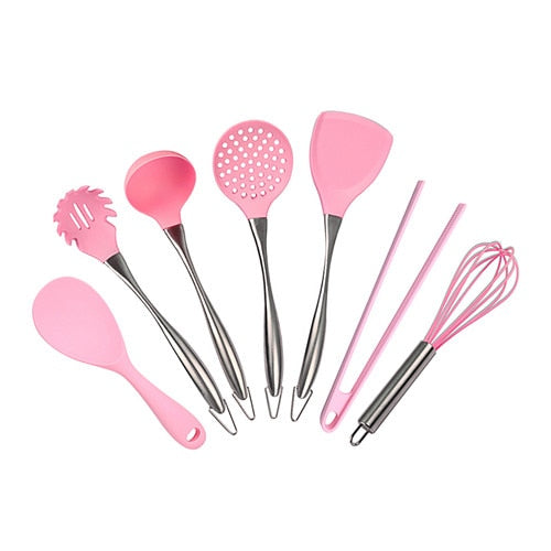 7pcs - Pink Silicone Cooking Tools Stainless Steel Handle Kitchenware Dinnerware Tableware Heat Resistant Kitchen Utensils Accessories