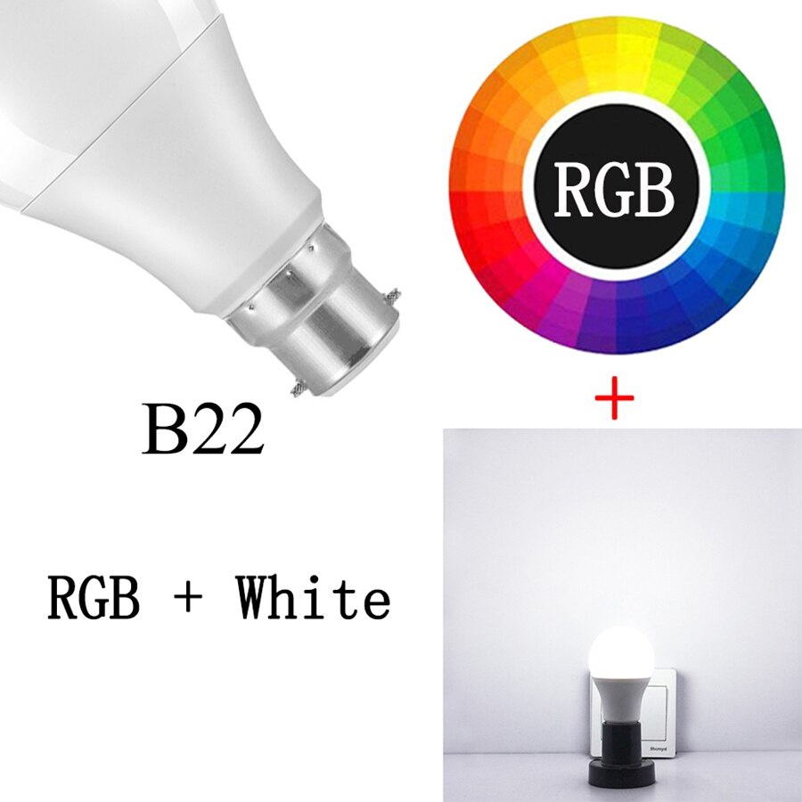 B22 RGBW - Newest 15W RGB Bluetooth Smart LED Bulb E27 Dimmable B22 RGBW RGBWW LED Bulb Music Voice Control Smart Light Lamp for Home Decor
