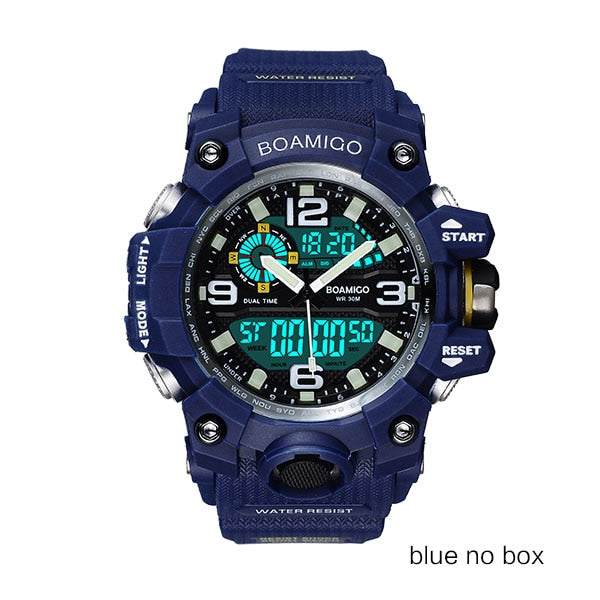 blue no box - Men Sports Watches BOAMIGO Brand Digital LED Orange Shock Swim Quartz Rubber Wristwatches Waterproof Clock Relogio Masculino