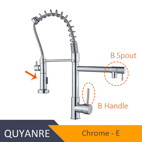 CHROME XINPENTOU - Blackend Spring Kitchen Faucet Pull out Side Sprayer Dual Spout Single Handle Mixer Tap Sink Faucet 360 Rotation Kitchen Faucets