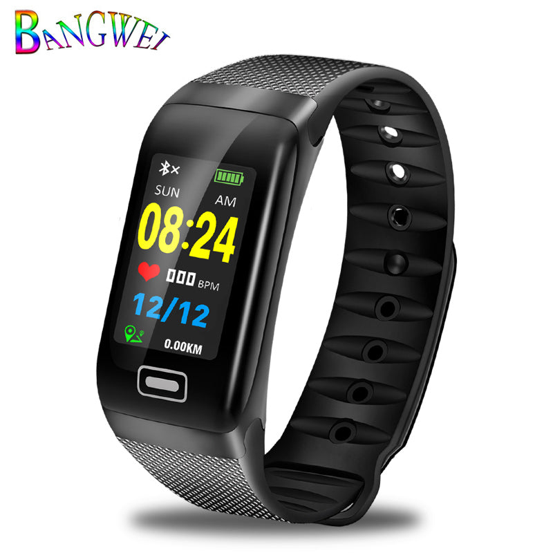 Black - BANGWEI Fitness smart watch men Women Pedometer Heart Rate Monitor Waterproof IP67 Swimming Running Sports Watch For Android IOS