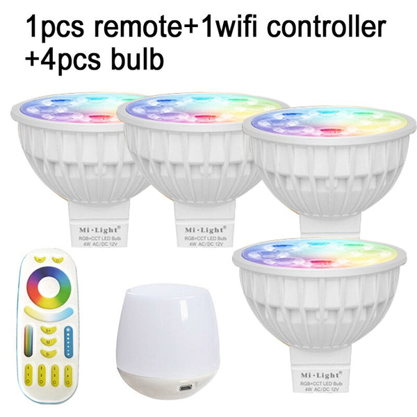 1remote 1wifi 4bulbs / GU10 / Yes - HOTOOK Mi Light WIFI LED Bulb RGB CCT(2700-6500K)LED Lamp Smart Light Dimmable MR16 GU10 4WSpotlight 2.4G Remote and APP Control