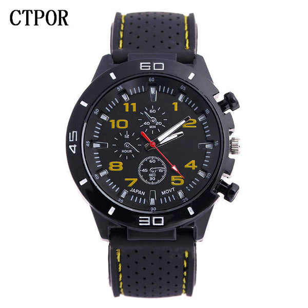 yellow - 9-18 years Old Sports Children's Watch Military Sports Car Style Man Watches Silicone Wristwatch Child Student Clock Kids Boy WA