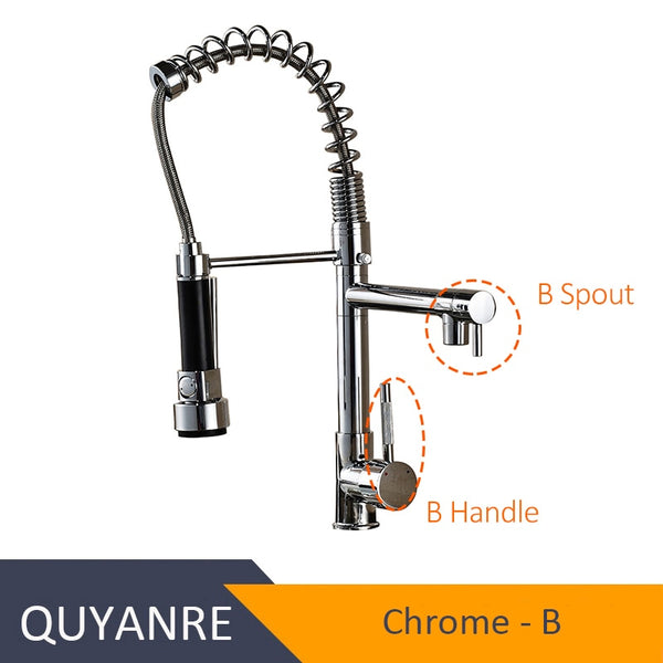 CHROME GUNHUA - Blackend Spring Kitchen Faucet Pull out Side Sprayer Dual Spout Single Handle Mixer Tap Sink Faucet 360 Rotation Kitchen Faucets