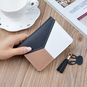 Black - New Arrival Wallet Short Women Wallets Zipper Purse Patchwork Fashion Panelled Wallets Trendy Coin Purse Card Holder Leather