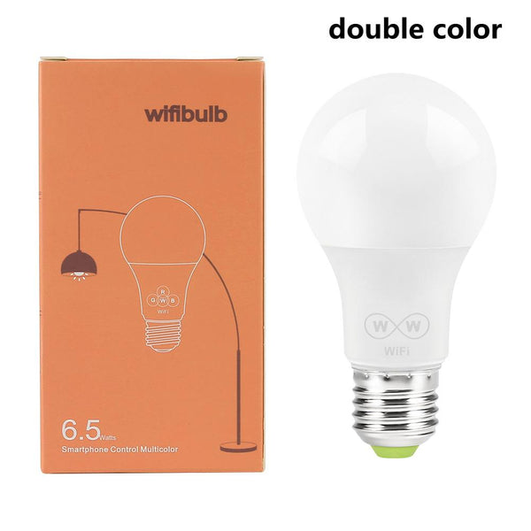 Double Color / 6.5W - New E27 WiFi Smart LED Light Bulbs Intellegent App Remote Control Bulbs Walk-up Warn Lighting Work With Alexa Google Assistant