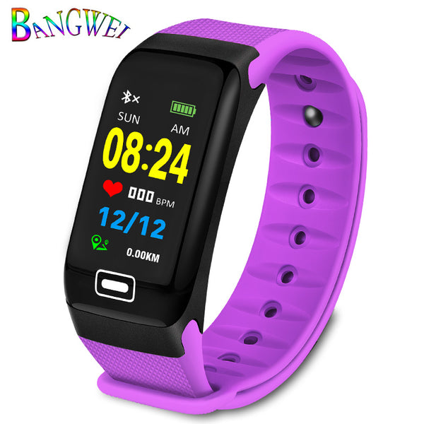 purple - BANGWEI Fitness smart watch men Women Pedometer Heart Rate Monitor Waterproof IP67 Swimming Running Sports Watch For Android IOS