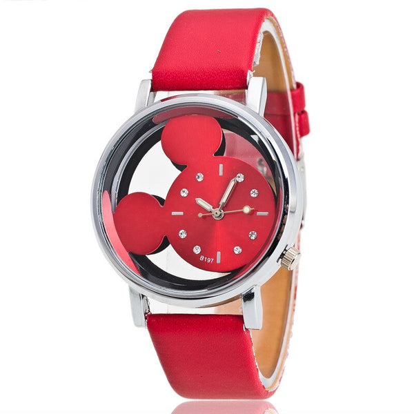Red - Brand Leather Quartz Watch Women Children Girl Boy Kids Fashion Bracelet Wrist Watch Wristwatches Clock Relogio Feminino Cartoon