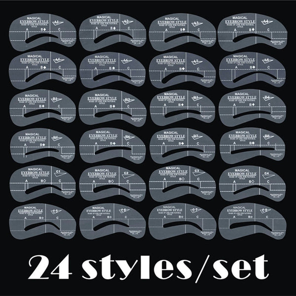 [variant_title] - 24pcs/set Grooming Stencil Kit MakeUp Shaping DIY Beauty Eyebrow Template Stencils Make up Shaper Tools Accessories
