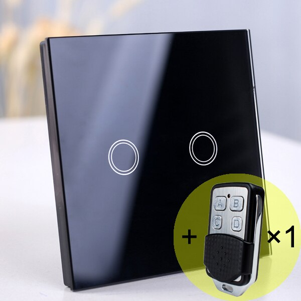 2 gang Black Remote - EU/UK Standard Touch Switch, Wall Light Touch Screen Switch, wireless Remote control Wall touch switch , 2 gang gray AC130~250V