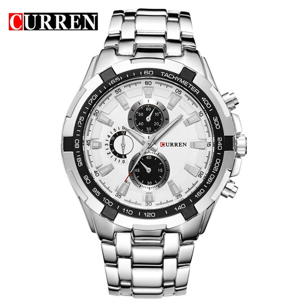 silver white - HOT2016 CURREN Watches Men quartz TopBrand  Analog  Military male Watches Men Sports army Watch Waterproof Relogio Masculino8023